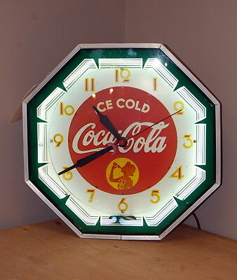 Original 1941 Coca Cola Neon Clock Coke Advertising