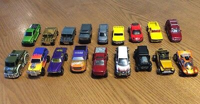 18 TOY CARS - 11 x Hot wheels + 7 job lot assorted. All SUV's OFF ROAD VEHICLES.