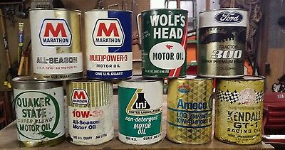 Petroliana oil can quart lot Wolfs Head Marathon Ford Quaker State Kendall