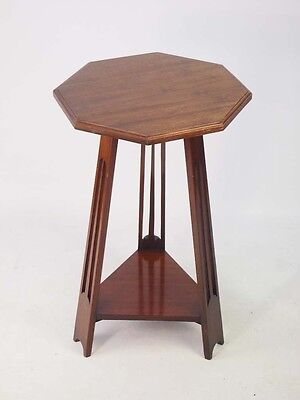 Antique Edwardian Arts & Crafts Lamp Table - Small Vintage Mahogany Side Table