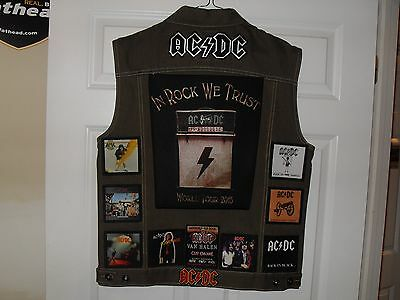 AC/DC Tribute Vests-OLIVE-XL....Slayer, AC/DC,Megadeth, Iron Maiden,Overkill