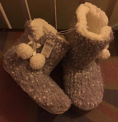 Brand New Grey Super Soft Booty Slippers Size 5/6..