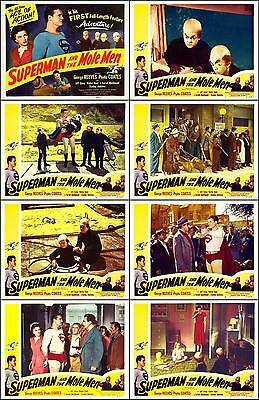 SUPERMAN And THE MOLE MEN GEORGE REEVES Full Set Of 8 Indiv 8x10 LC Prints 1951