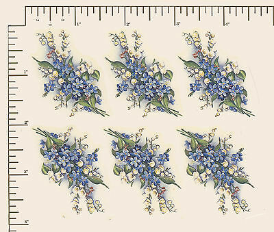 """6 x Waterslide ceramic decals Decoupage Lily/forget-me-not spray Floral 2"""" PD719"""