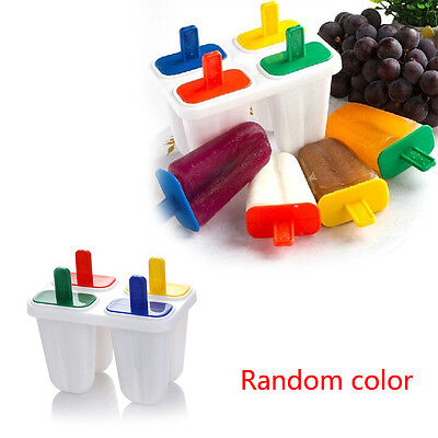 4 Cell DIY Plastic Popsicle Ice Cream Mould Ice Lolly Mold Making Tray Kitchen