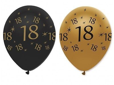"""18Th Birthday Party Black Gold 12"""" Age 18 Helium Latex Balloons Decoration X 6"""
