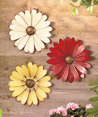 "Set of 3 Metal Wall Flowers 12"" Country Garden Patio Deck Porch Decor Gift"