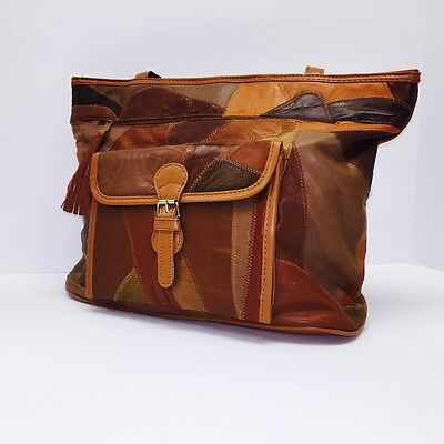 NEW Women Brown Patch-Leather 3-PC Set Tote Fashion Shoulder Handbag Large GIFT