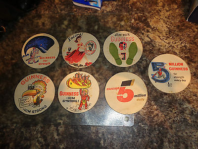 Collection of 7 vintage Guinnness British Beer mats from the 1950s 60s job lot
