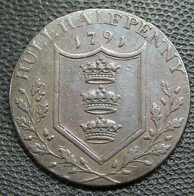 British -1791/94 Hull Halfpenny Token ALMOST EXTRA FINE English UK Copper Coin