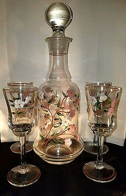 Hand Painted Glass Decanter and Matching Glasses Set Pink White Dogwood Vintage