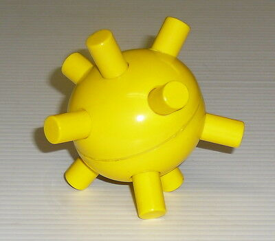 """1970 yellow plastic Sputnik mid-century about 3"""" in diameter - buttons push in"""
