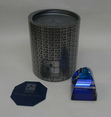 "Swarovski Pyramid Paperweight Bermuda Blue 2 1/2"" Signed SC with Box"