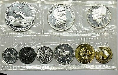 Austria 1964 Silver 9 Coin Proof Set Ps2  Olympic Innsbruck 50 Shillings