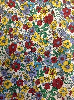 Retro Poly Cotton Twill Fabric Small Red Yellow Blue Floral 112 Cm X 200 Cm