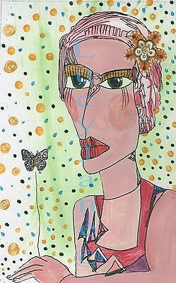 prints - ladies - A4 size signed - set of 3 colourfull - three different set ART
