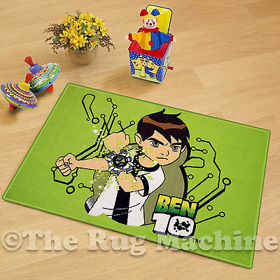 BEN 10 GREEN KIDS FUN PLAY RUG 50x75cm NON-SLIP & WASHABLE **NEW**