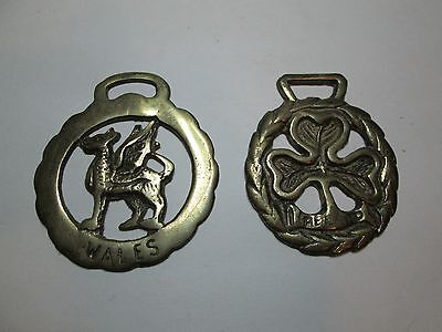 Two Vintage Horse Tack Bridle Brass Medallions Wales-Ireland
