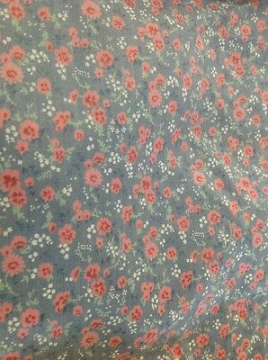 Retro Cotton Fabric Small Pink Floral On Grey 90 Cm X 300 Cm
