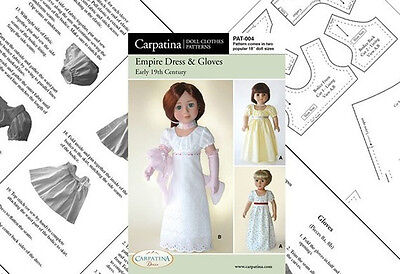 """Doll Clothes Pattern Empire Dress & Gloves Fits 18"""" American Girl & Carpatina"""