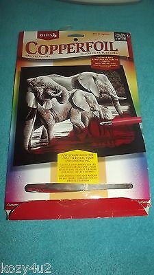 Reeves Copperfoil copper elephants plaque preprinted board Picture Kit