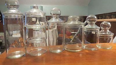Superb Vtg. Apothecary Jars  8 Piece Lot  Ball And Flat Top Candy Buffet