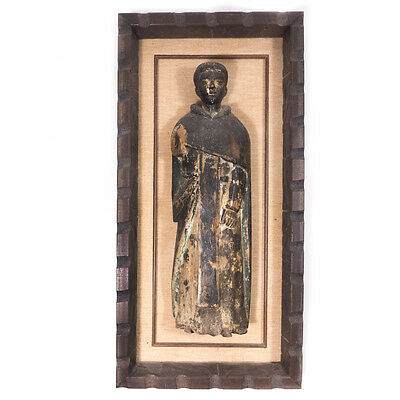 Antique Carved Religious Philippine Santos Figure Framed Wooden Sculpture 18""