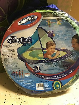 Swimways Swim Step 1 Baby Spring Float Sun Canopy Ages 9-24 Mos Blue Whale Raft
