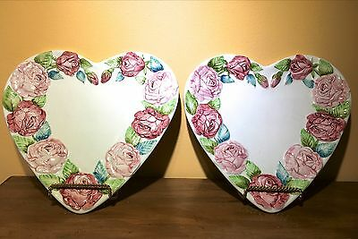 """*Valentine~ ITALY~ For Gumps 2) Lovely Heart Shaped Rose Trimmed 11Hx11W"""" Plates"""