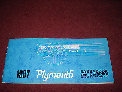 1967 Plymouth Barracuda Owner's Manual / Owner's Guide / Very Rare Original!!