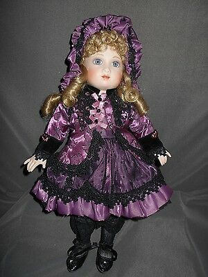 "Maryse Nicole, Bebe Bru, 16"" Porcelain/ Cloth Doll, Excellent Condition, Stand"