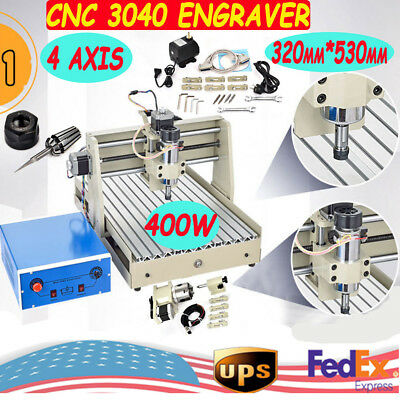 400W 4axis 3040 CNC Router engraver engraving milling machine Mill Drill Machine