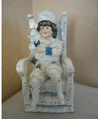 Victorian Little Boy W/ Kitty Cat In Hign Chair Hand Painted Porcelain Figurine