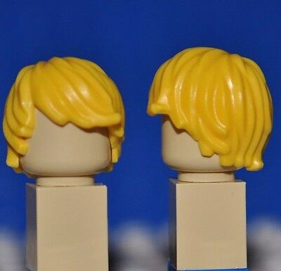 Lego Parts - Yellow Hair Piece/blonde Minifigure Wig/tousled With Side Part P