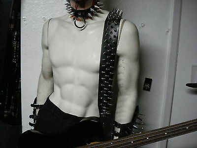 Leather Spiked Guitar Strap. Buckle Up ...(Mdls0199)..... Supuration