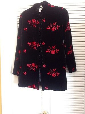 A Pea in the Pod , Black Velvet Jacket , Embroidered Red Roses , Medium