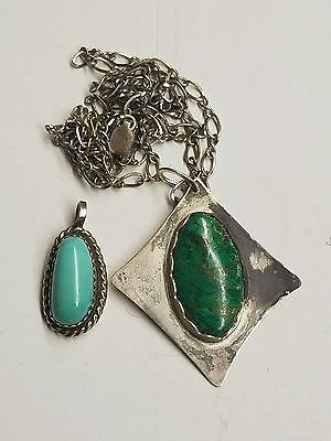 sterling silver native American jewelry 1 necklace & 2 pendants with turquoise