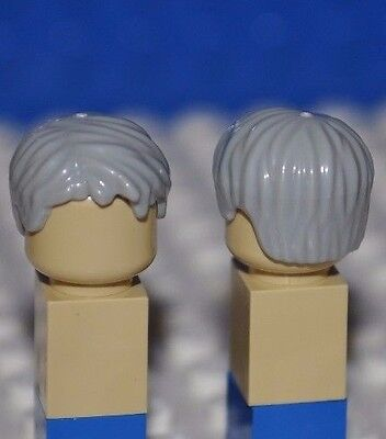 Lego Parts-Light Grey Hair Piece/old Man Minifigure Gray Wig/tousled Side Part R