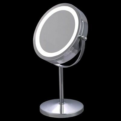 "7"" Double-Sided Makeup Mirror 18 LED Lights 5x Magnification Vanity Beauty"