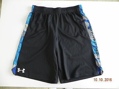 """Under Armour Youth Boys Size XL Loose Fit Black Shorts Ins. 10 1/4"""" 100% P"""