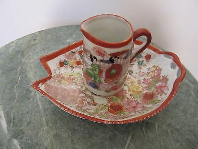 Antique  Japan Hand Painted Porcelain  Cup And Saucer Geishas In Garden