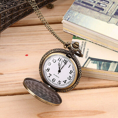 Mens Antique Bronze Retro Vintage DAD Pocket Watch Quartz With Chain Gift Y#