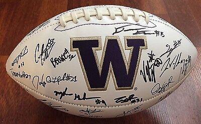 2016 Washington Huskies Team Signed Logo Football W/coa Budda Baker + John Ross