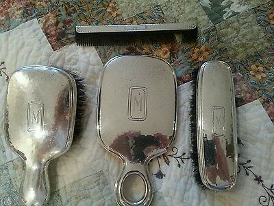 NIce Vintage International Sterling Silver Small Hand Mirror, Comb & 2 Brushes