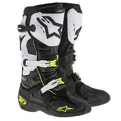 2017 Alpinestars Tech 10 Motocross Boots - White / Black / Fluro Yellow MX Motoc
