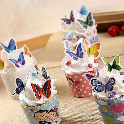50x Butterflies Wedding Birthday Paper Cupcake Cake Toppers to LE