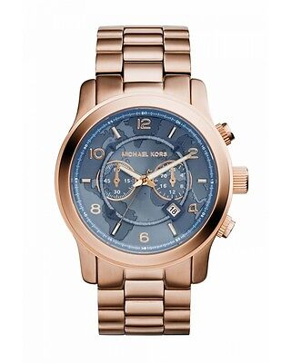 NEW Authentic Michael Kors Hunger Stop Oversized Runway Rose Gold Watch MK8358