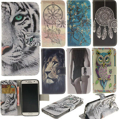 For various samsung galaxy phone case pu leather cute patterns wallet flip cover