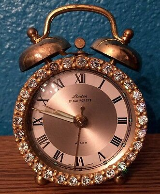 Vintage LINDEN black Forest West Germany Rhinestone Alarm Clock
