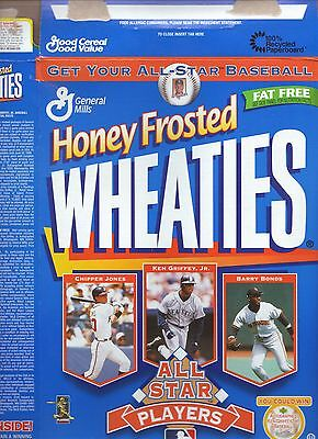 1997 Honey Frosted Wheaties Baseball All Stars Cereal Box--with baseball cards